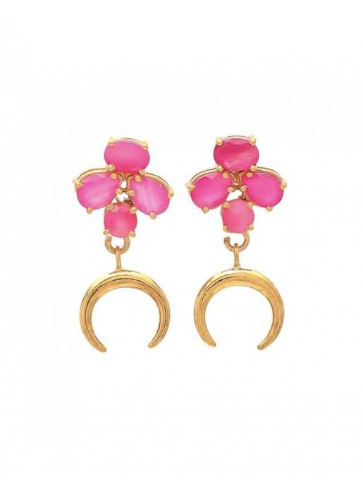 Long earrings with fuchsias stones and golden moon - Moon Welowe - 1