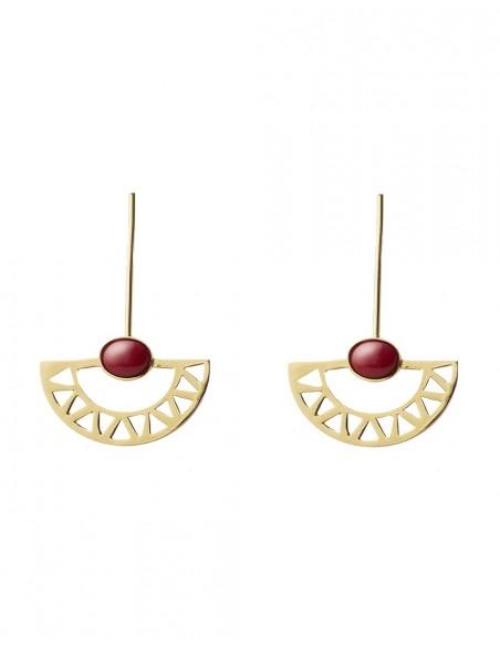 pendientes de luna egipcios largos dorados con piedra roja de Li Jewels para INVITADISIMA