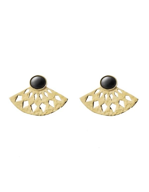 Pendientes abanico dorados con piedra negra de Li Jewels para INVITADISIMA