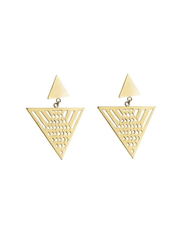 Pendientes de invitada geométricos dorados de Li Jewels para INVITADISIMA