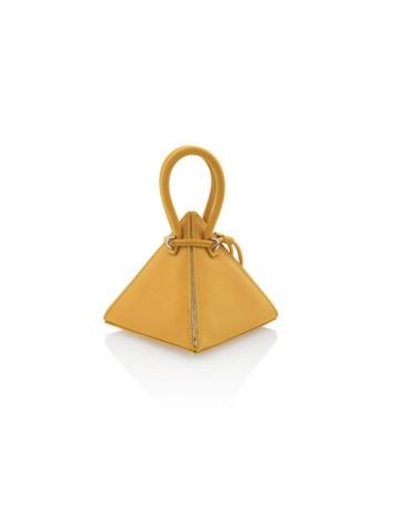 bolso piramidal mostaza con asas redondas
