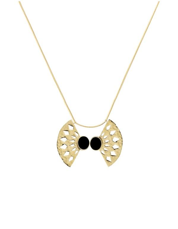 Collar abanico dorado con piedra negra de Li Jewels para INVITADISIMA
