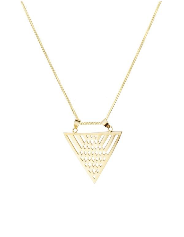 Collar de invitada geométrico dorado de Li Jewels para INVITADISIMA