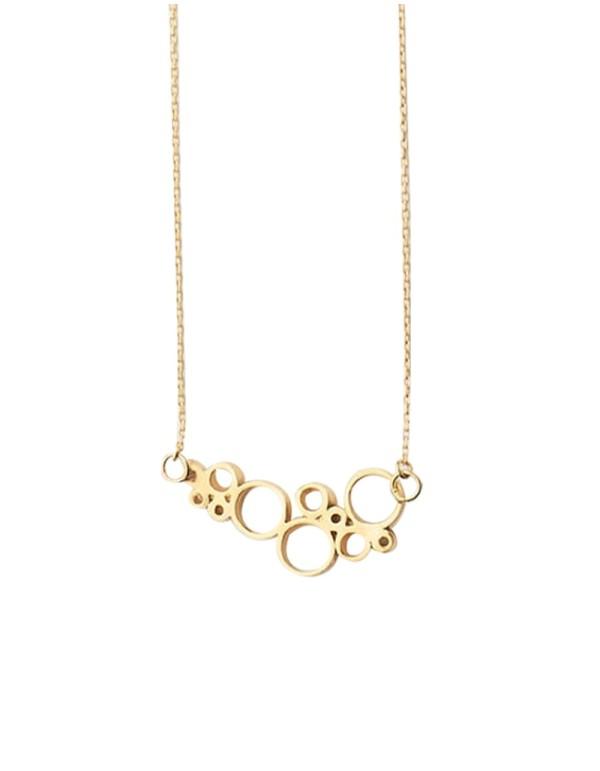 Collar dorado con detalles circulares para invitadas. De Li Jewels para INVITADISIMA.