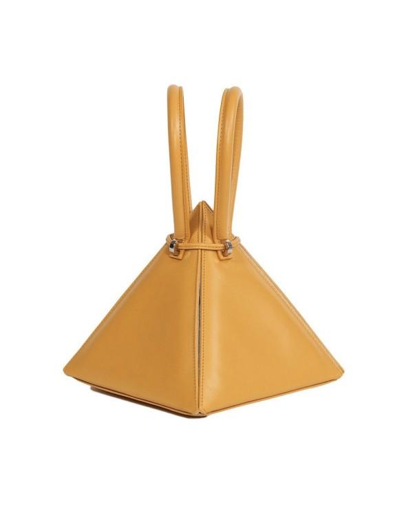 bolso piramide mostaza con asa redonda