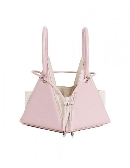 bolso rosa con asas redondas y tirador