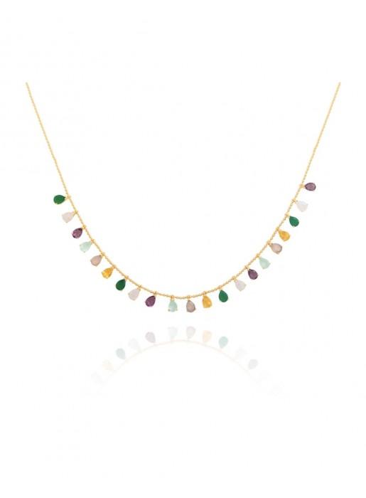 c0b66d808 Este impresionante collar de Lavani está formado por 21 piedras naturales  con los colores del arcoíris, engarzadas sobre una cadena de bolas  plateadas ...