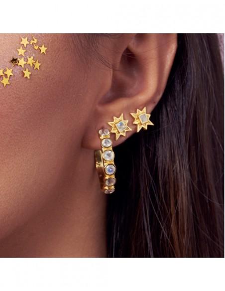 Hoop earrings with white stones - Halley LAVANI - 2