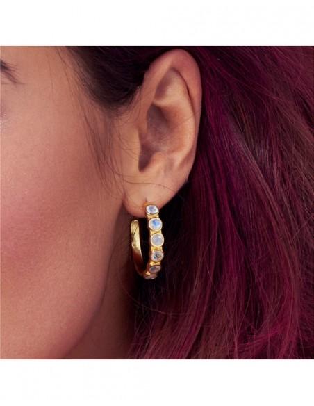 Hoop earrings with white stones - Halley LAVANI - 3
