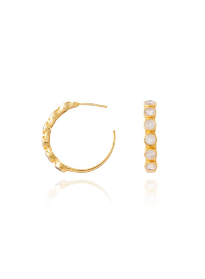 Hoop earrings with white stones - Halley LAVANI - 1
