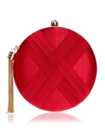 Bolso de fiesta redondo rojo para invitadas a bodas y eventos