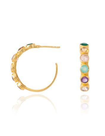 Pendientes de aro con piedras multicolor- Halley LAVANI - 1
