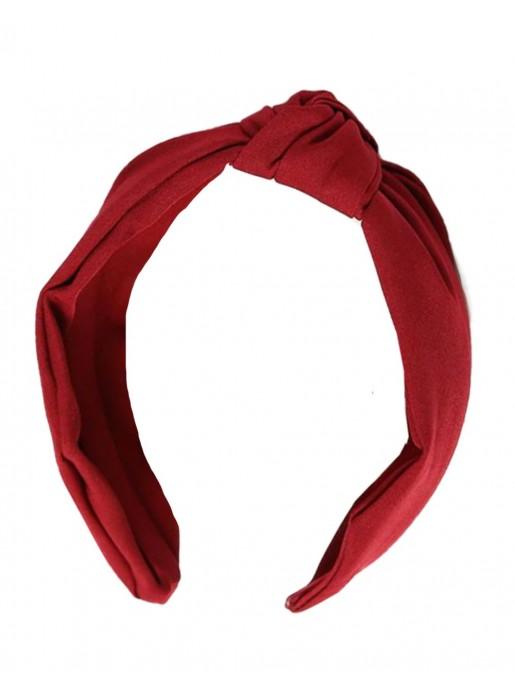 Garnet satin knotted headband