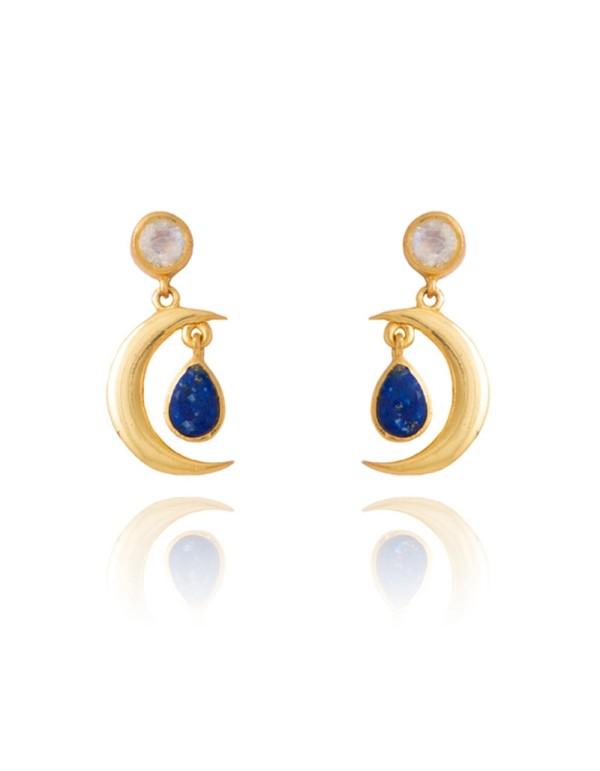 Pendientes con forma de luna - Sirius de Lavani jewels para INVITADISIMA