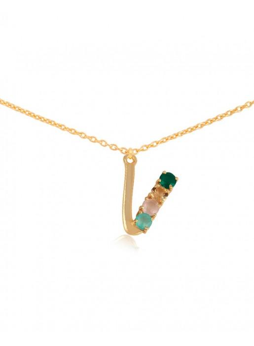 Shiny Initial necklace – V
