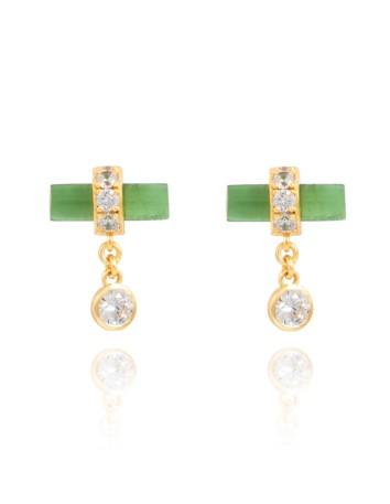 Pendientes de fiesta verdes con circonitas - Nima de Lavani jewels para INVITADISIMA