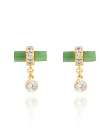 a7b0f228b329 Pendientes de fiesta verdes con circonitas - Nima de Lavani jewels para  INVITADISIMA ...