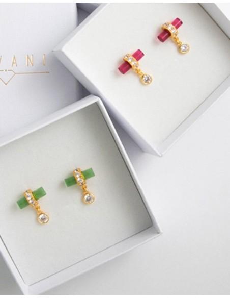 Green party earrings with zircons - Nima