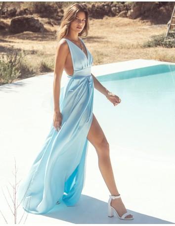 Vestido largo de fiesta con escote v azul claro Mauî Official - 3