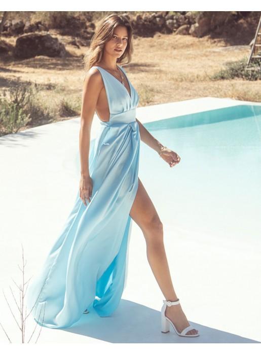 Vestido Largo De Fiesta Con Escote V Azul Claro
