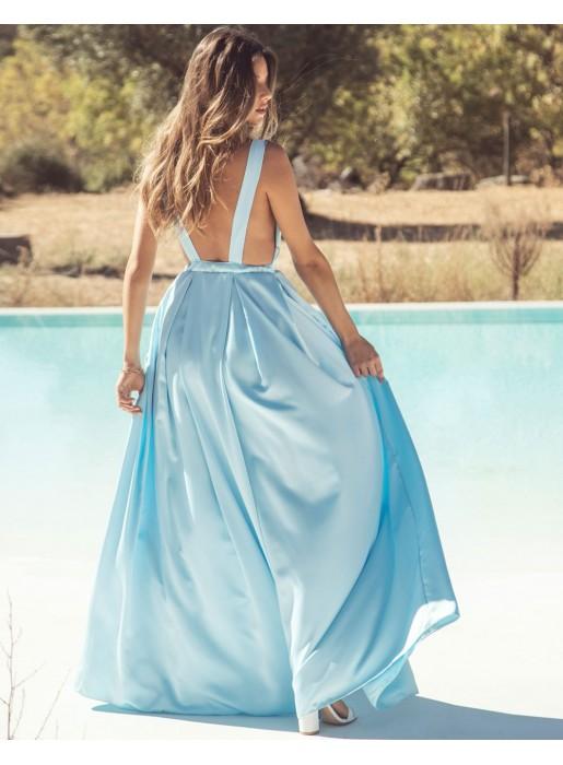 Vestido largo de fiesta con escote v azul claro Mauî Official - 2