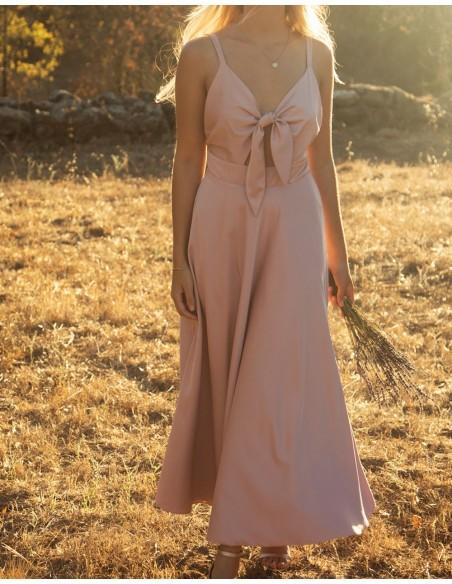 Vestido midi con escote lazo rosa empolvado INVITADISIMA.