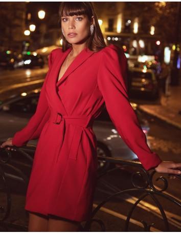 Vestido cóctel tipo blazer con escote v rojo para INVITADISIMA.