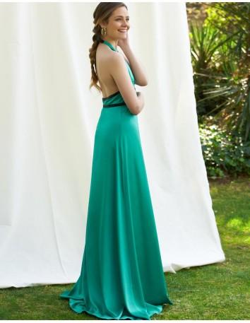 Vestido de fiesta largo de raso en color verde con detalle de dos cintas negras de Alenia para INVITADISIMA