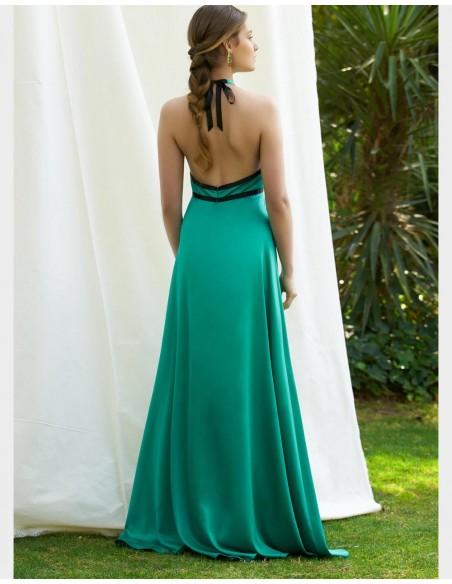 Vestido de fiesta largo verde para invitadas a bodas de tarde