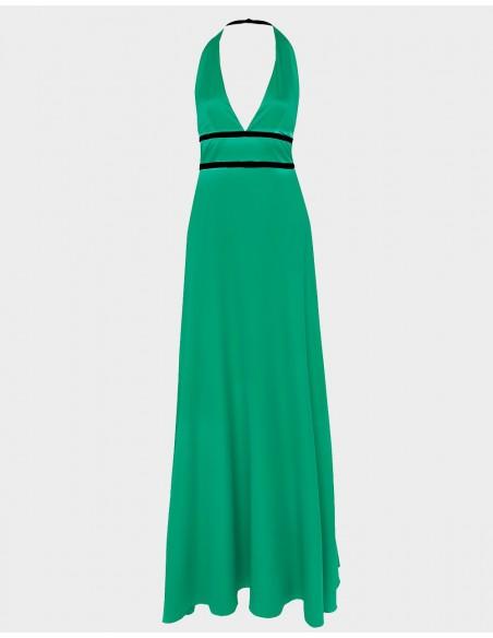 Vestido de fiesta largo de raso en color verde con detalle de dos cintas negras de Alenia para INVITADAS PERFECTAS
