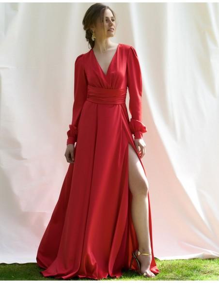 Vestido De Fiesta Largo Rojo Giulia
