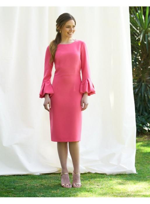 Vestido de fiesta midi con manga francesa abullonada rosa - Francesca de Alenia para INVITADISIMA