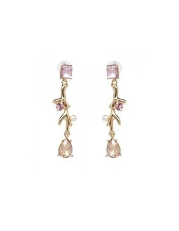 pendientes largos de fiesta con piedras rosas