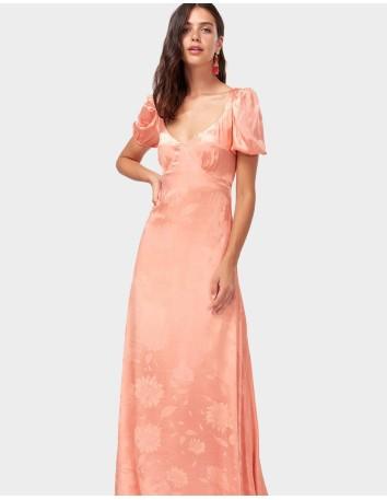 Vestido de fiesta largo coral estampado floral para invitadas a bodas y eventos INVITADISIMA.