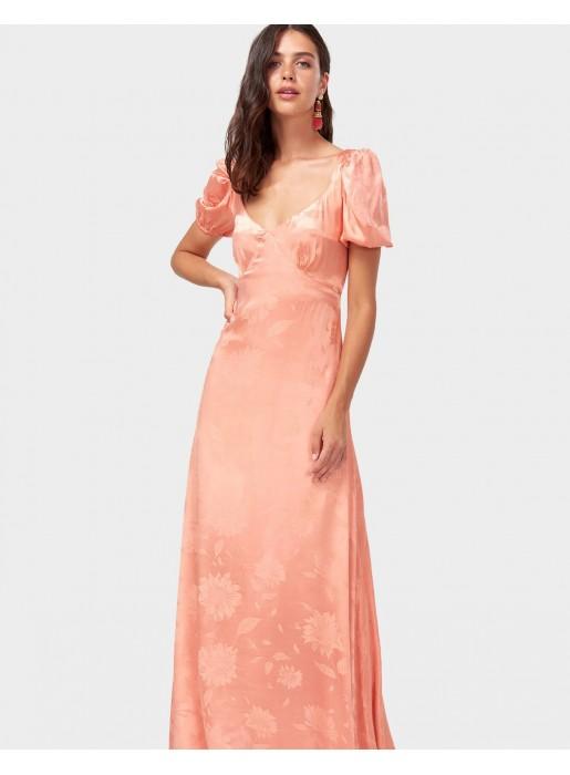 91c103b0ea Vestido de fiesta largo coral estampado floral para invitadas a bodas y eventos  INVITADISIMA.