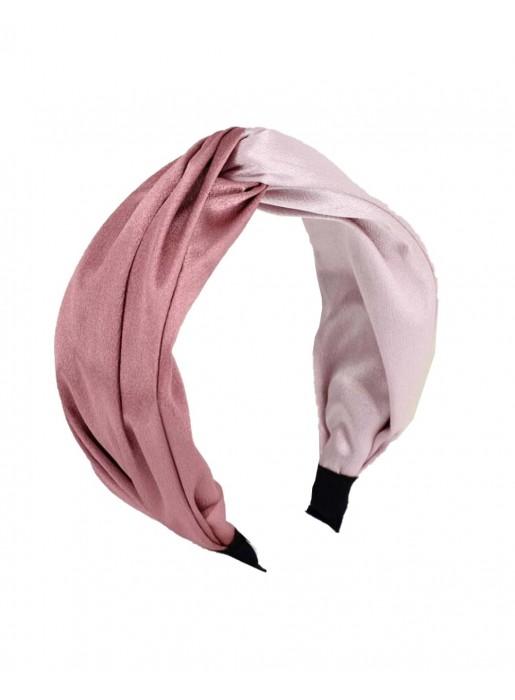 Diadema de satén bicolor en tonos rosas para invitadas a bodas y eventos de INVITADISIMA