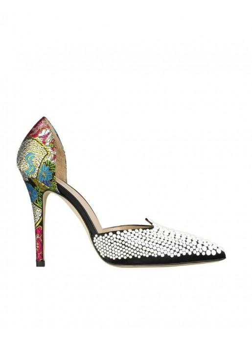 ventas calientes lujo reloj Zapato de tacón estampado con perlas negro - Lavinia Black