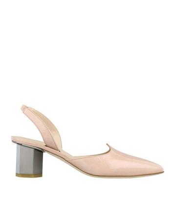 zapato tacon medio rosa