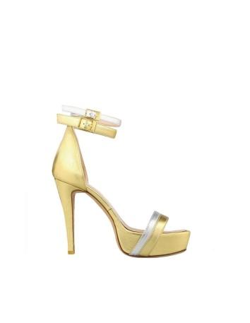 sandalia plataforma dorada