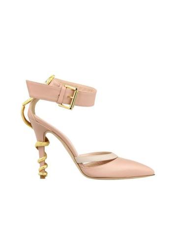zapato salon rosa con correa