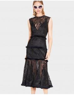 vestido midi negro de encaje