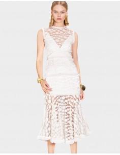 vestido midi blanco de encaje