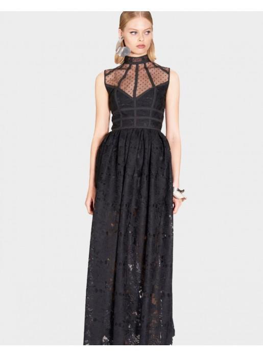 Vestido Largo Negro Con Cuello Halter De Encaje Y Tul Lauren Black