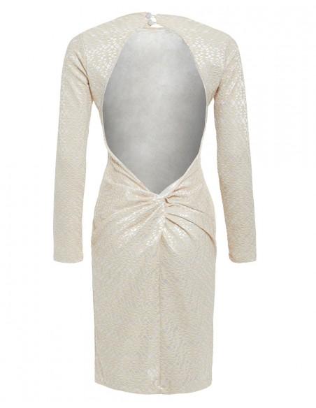 Vestido completo de espalda del copy of Vestido de cóctel con manga larga y espalda al aire piedra