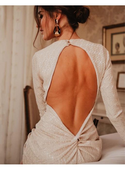 Vestido de cóctel con manga larga y espalda al aire piedra - INVITADA PERFECTA