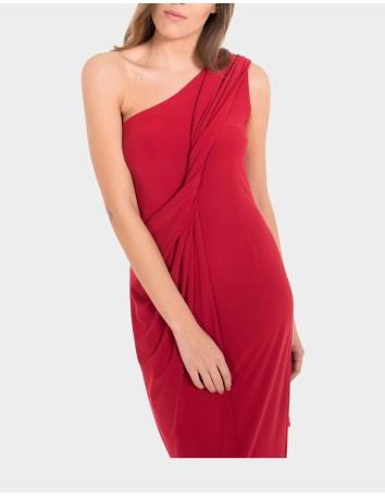 vestido largo rojo fruncido