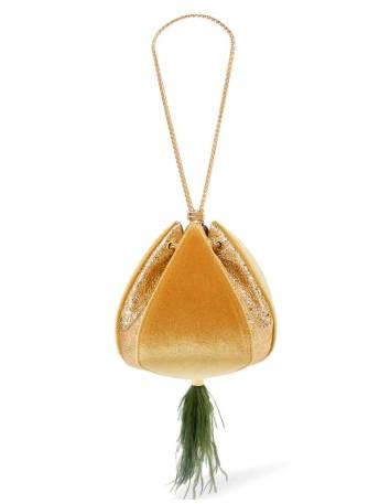 Bolso limosnera de terciopelo mostaza Lauren Lynn London Accessories - 1