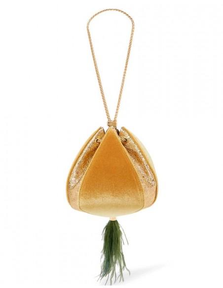 Clutch de terciopelo mostaza Lauren Lynn London Accessories - 1