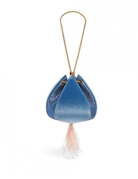 Blue velvet bag Lauren Lynn London Accessories - 1