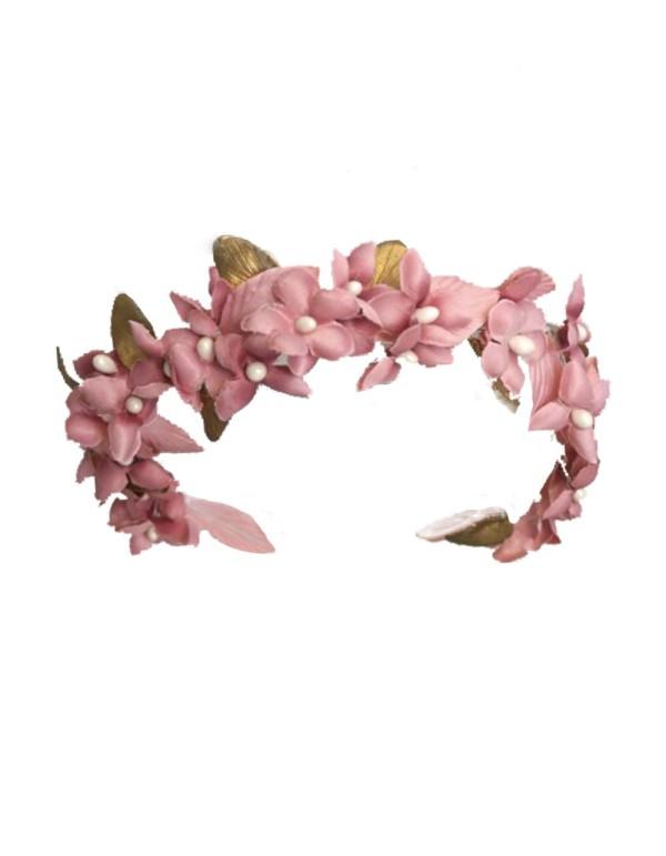 corona de flores rosas de tela